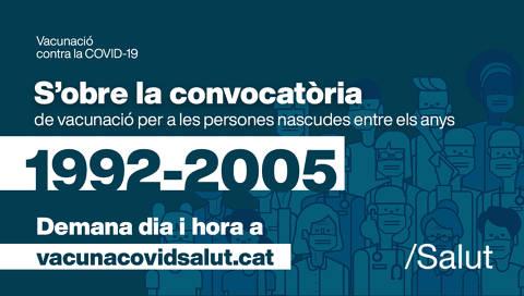 Oberta la convocatòria de vacunació pels nascuts entre el 1992 i el 2005