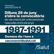 Convocats els nascuts entre el 1987 i el 1991 per la vacuna de la COVID19